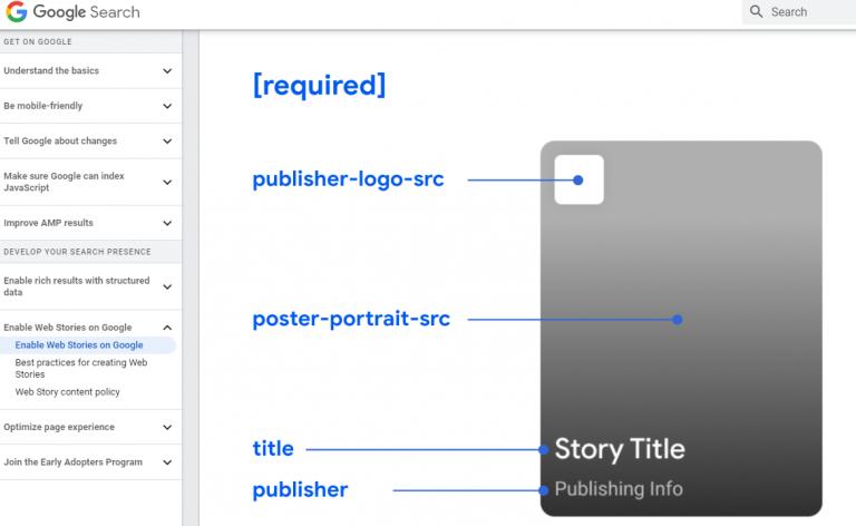 Screenshot of Enabling Web Stories from Google Developer Site